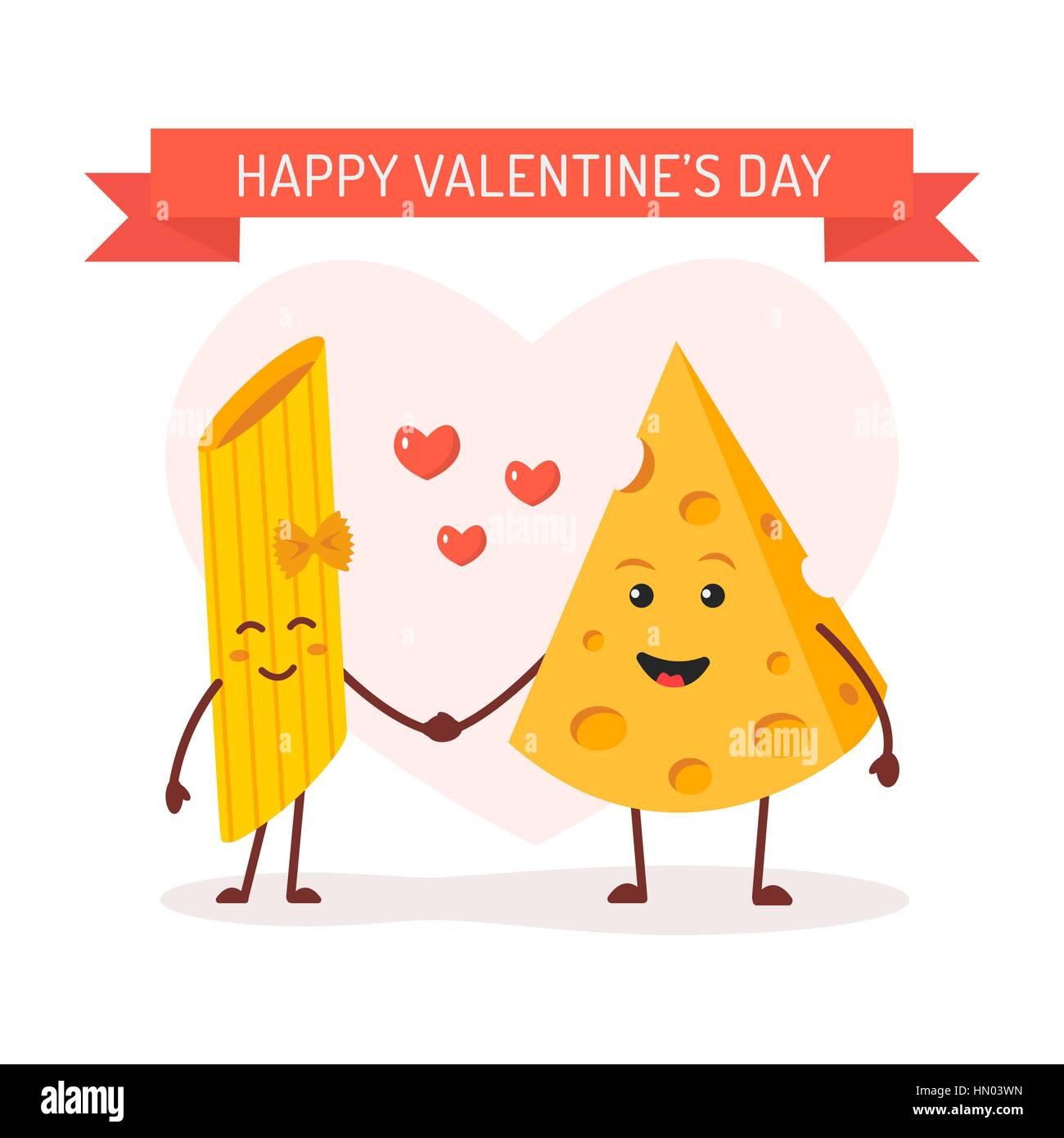 Valentines day card love between pasta and cheese cute comic stock valentines day card love between pasta and cheese cute comic characters vector cartoon voltagebd Choice Image