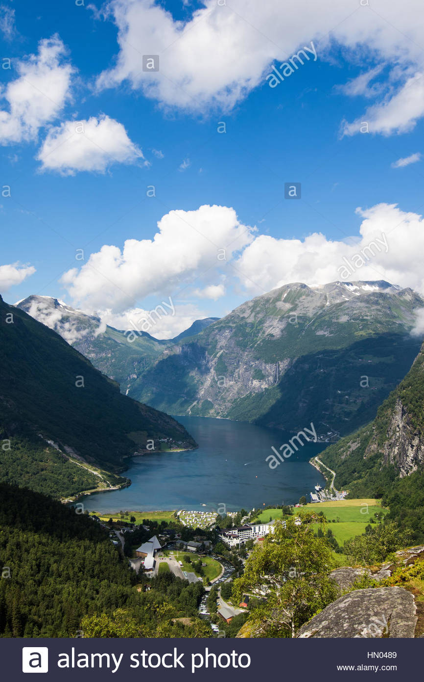 look from flydalsjuvet to geiranger and the geirangerfjord, møre og romsdal, norway - Stock Image