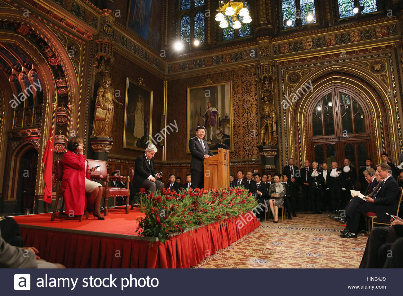 File photo dated 20/10/15 of China President Xi Jinping addressing MPs and peers in the Palace of Westminster's - Stock Image