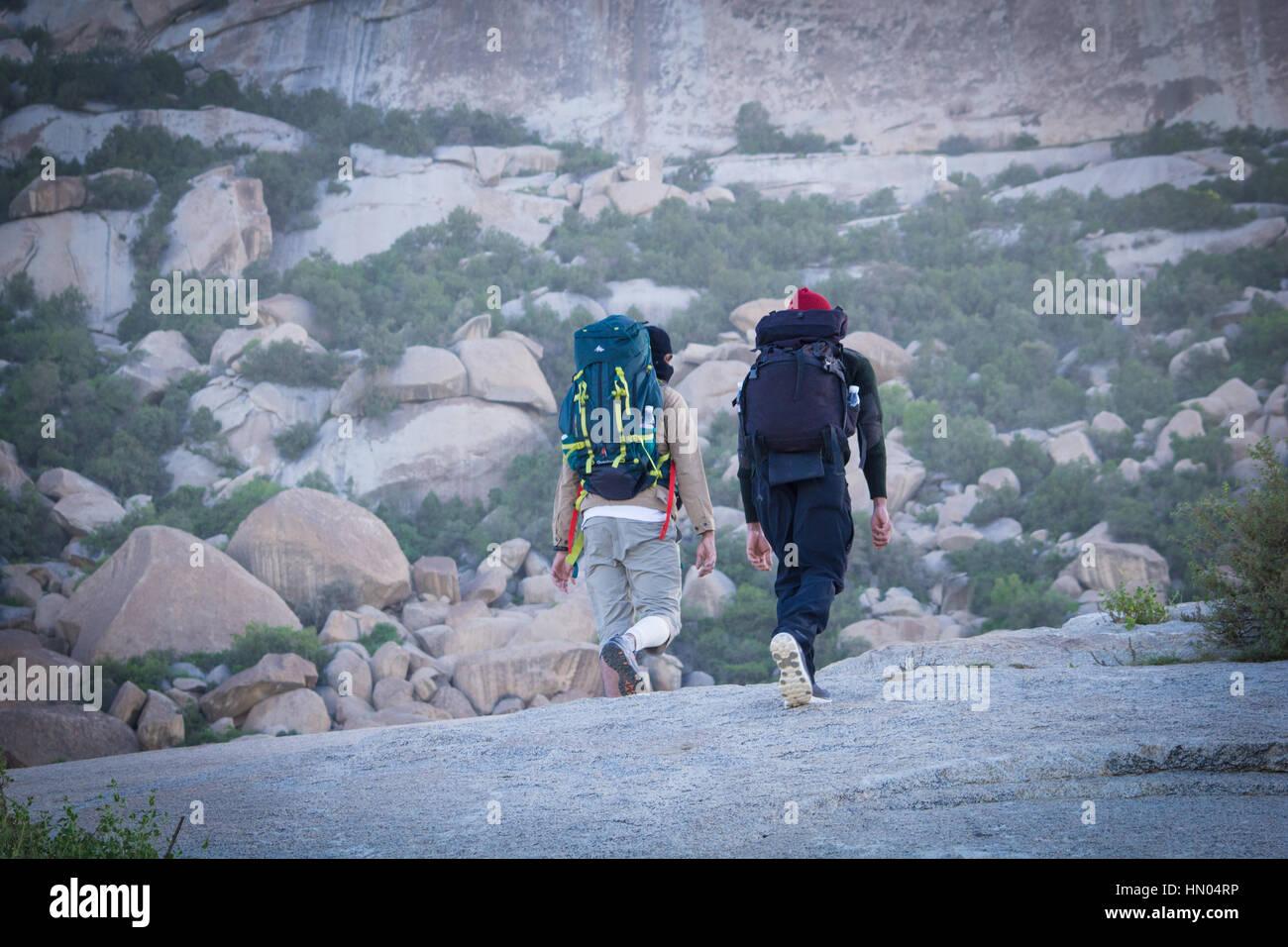 Travel hiking mountain Camping desert - Stock Image