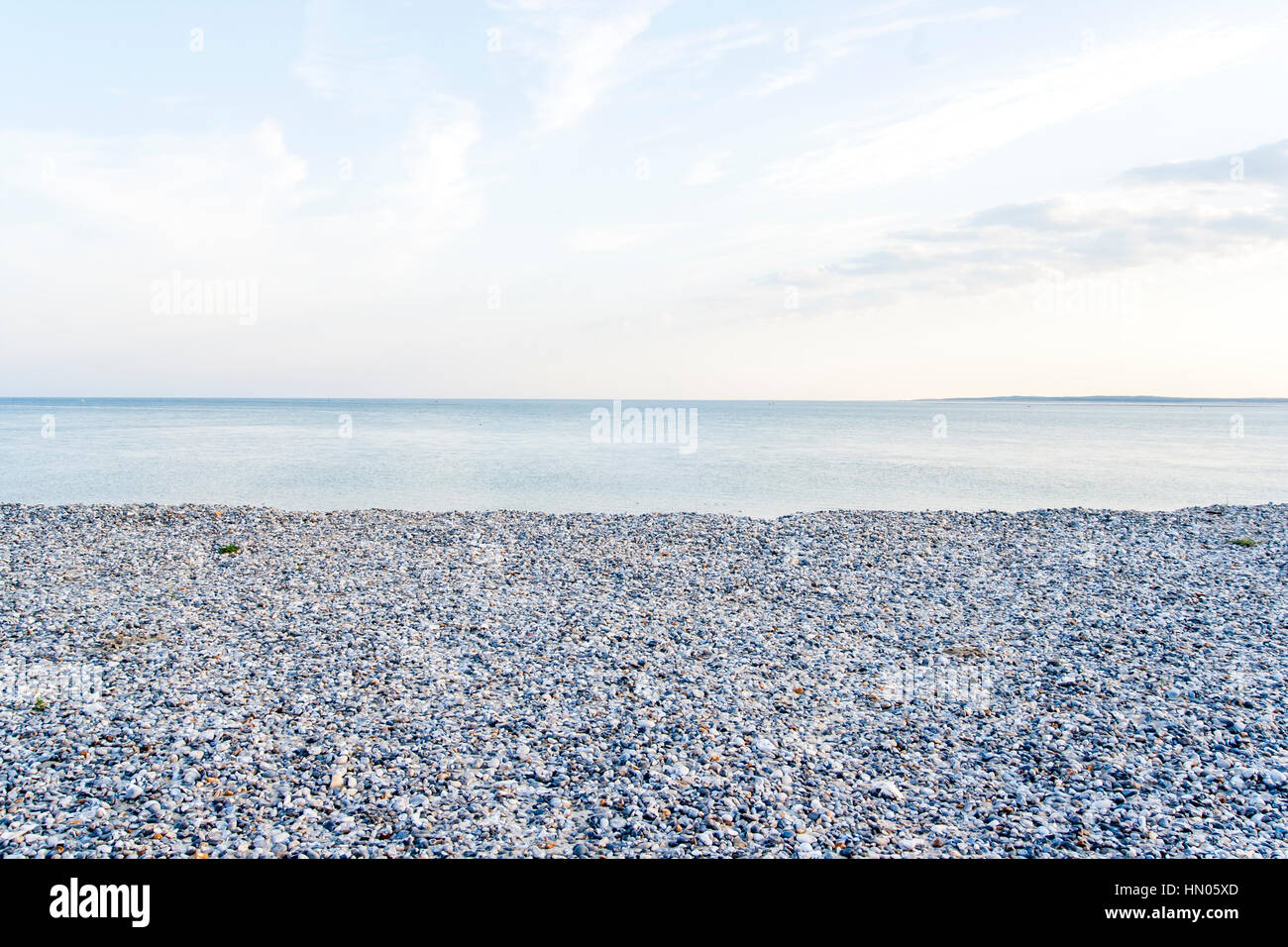 Cayeux-sur-Mer (France), shingle beach in early morning Stock Photo