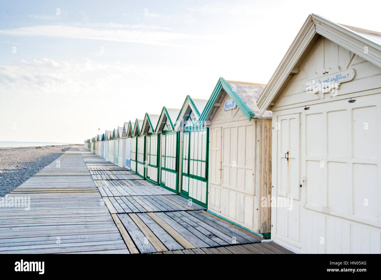 Cayeux-sur-Mer (France), shingle beach and alignement beach huts Stock Photo