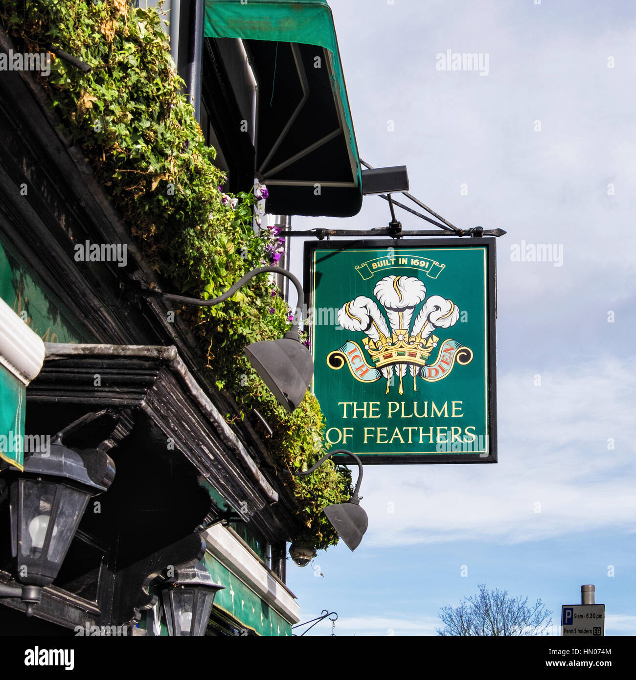 London, Greenwich - The Plume of Feathers - sign outside traditional English Pub - Stock Image