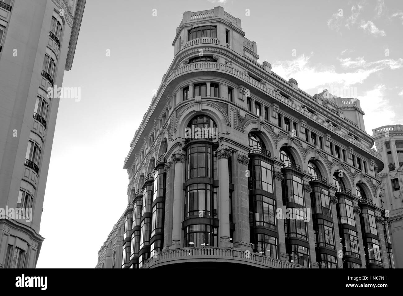 Black And White Madrid black and white classic building in gran via (madrid stock