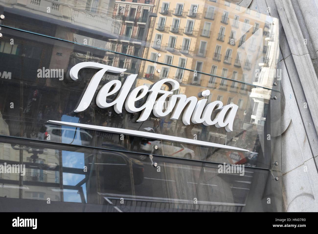 Spanish technology company Telefonica logo - Stock Image