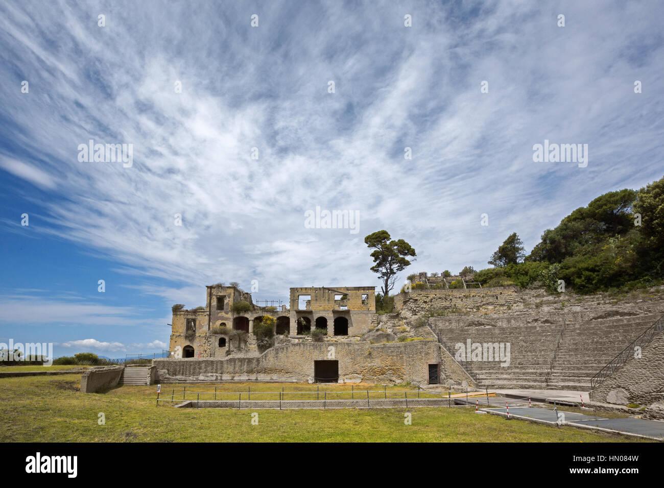 Naples (Italy) - Pausilypon archaelogical site. Ruins of Publius Vedius Pollio Villa on the promontory of Posillipo - Stock Image