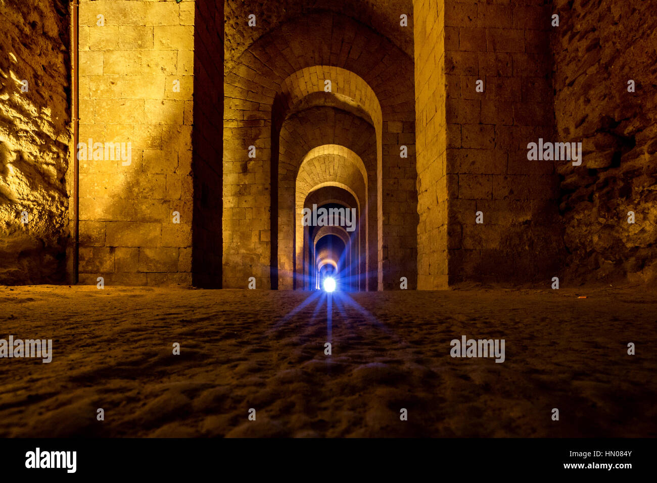 Naples (Italy) - Pausilypon archaelogical site. Entrance to the site is through a 770 meter tunnel, the Grotta di - Stock Image
