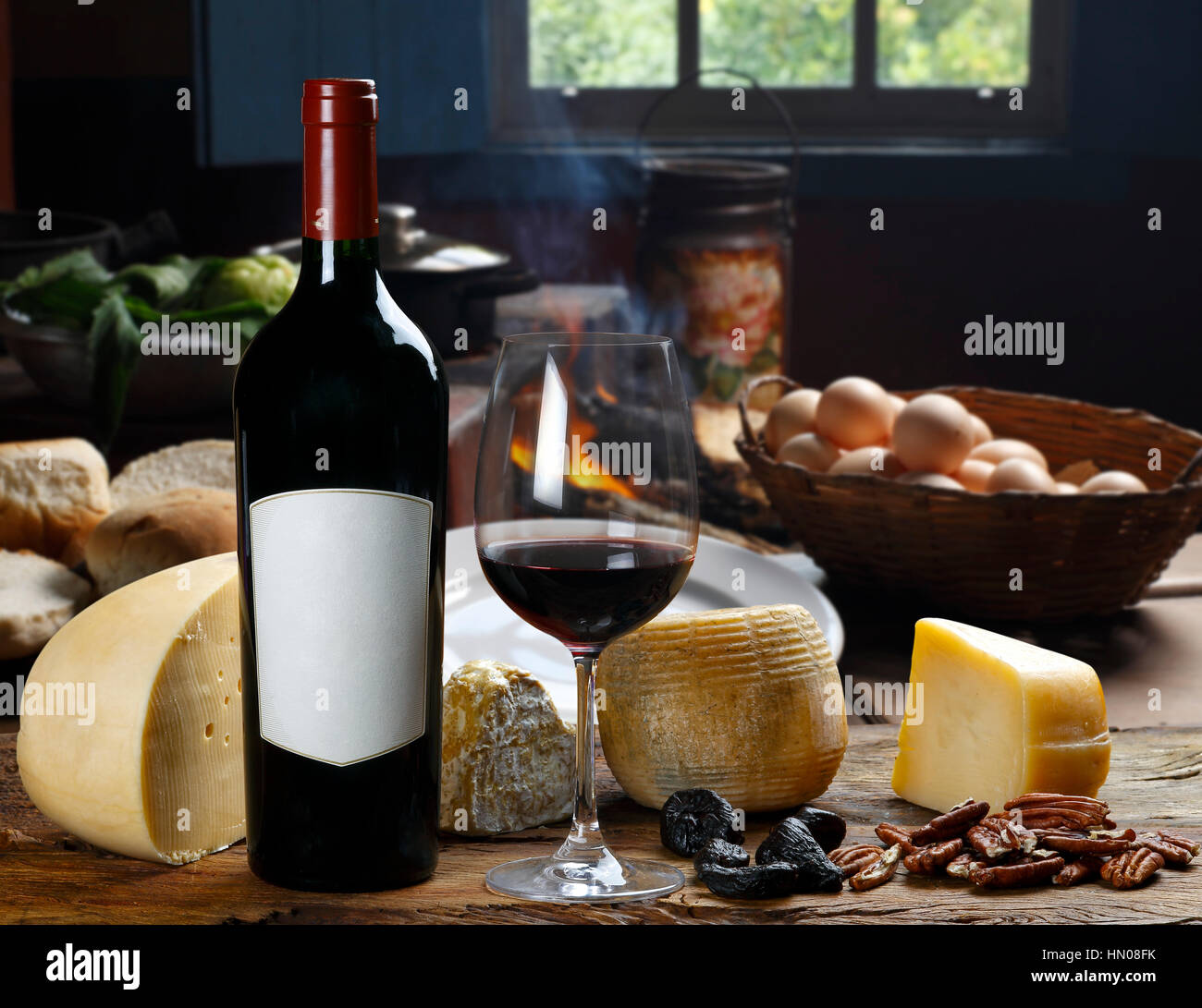 cheese and wine - Stock Image