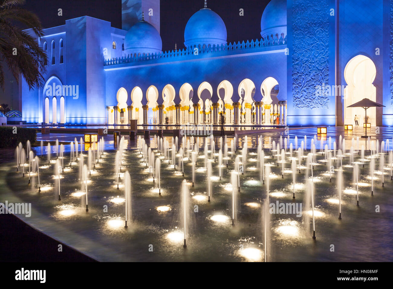 Sheikh Zayed Grand Mosque illuminated at night. Abu Dhabi, United Arab Emirates, Middle East Stock Photo