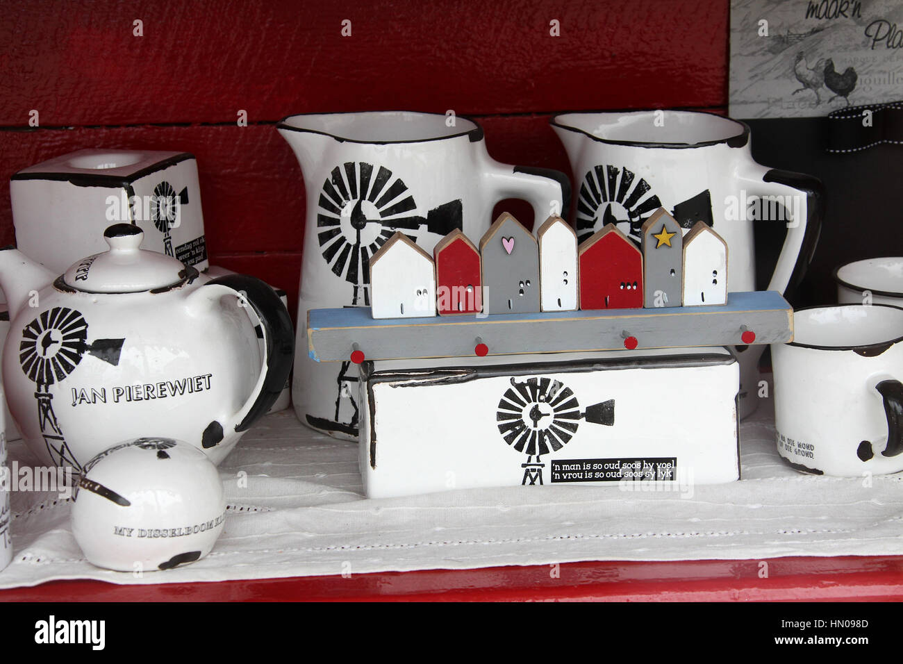 Souvenirs in a shop window at Swakopmund in Namibia - Stock Image