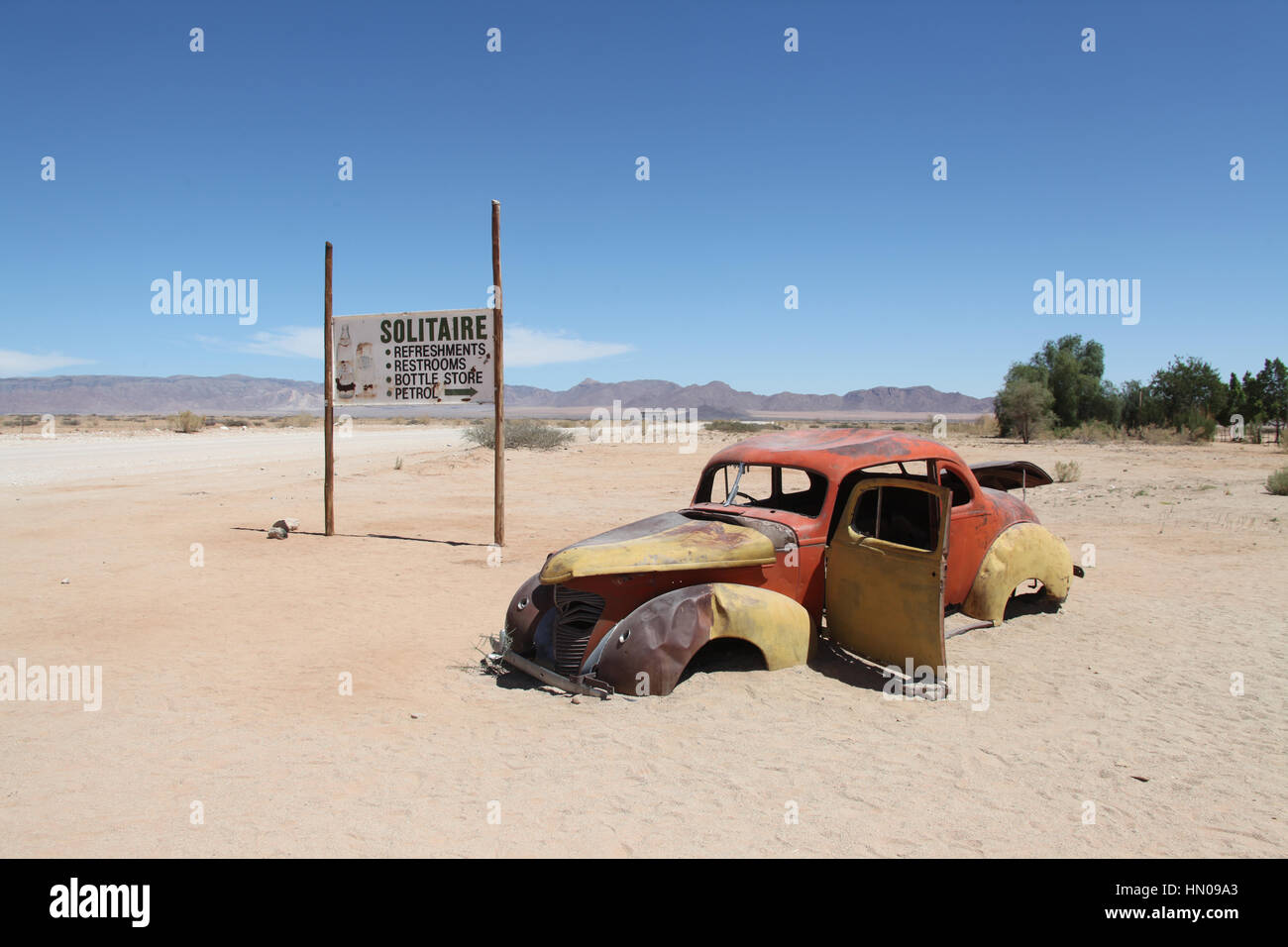 Solitaire settlement in central Namibia which is a popular stopover for tourists - Stock Image