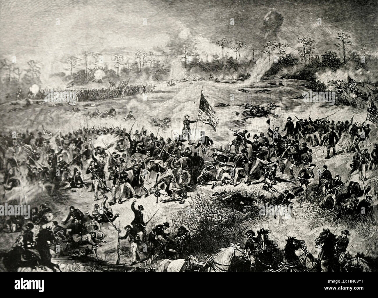 The Battle of Atlanta, July 22, 1864 - Fuller's Division of the Sixteenth Corps, rallying to hold their ground - Stock Image