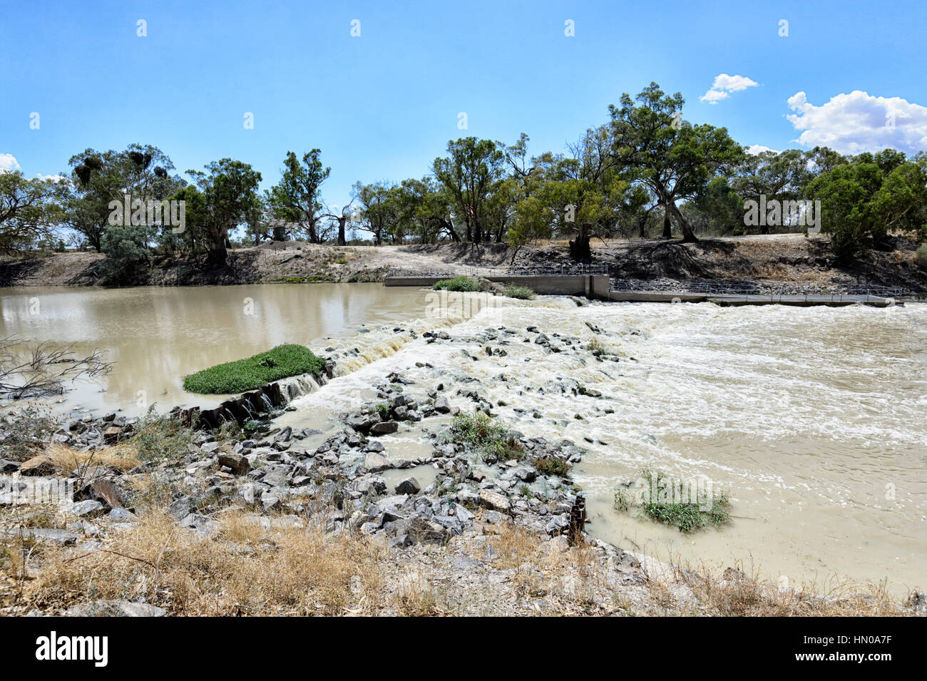 Weir 32 on the Darling River in Kinchega National Park, New South Wales, Australia - Stock Image