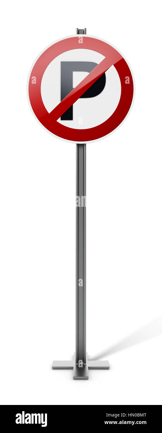 No parking traffic sign isolated on white background. 3D illustration. - Stock Image