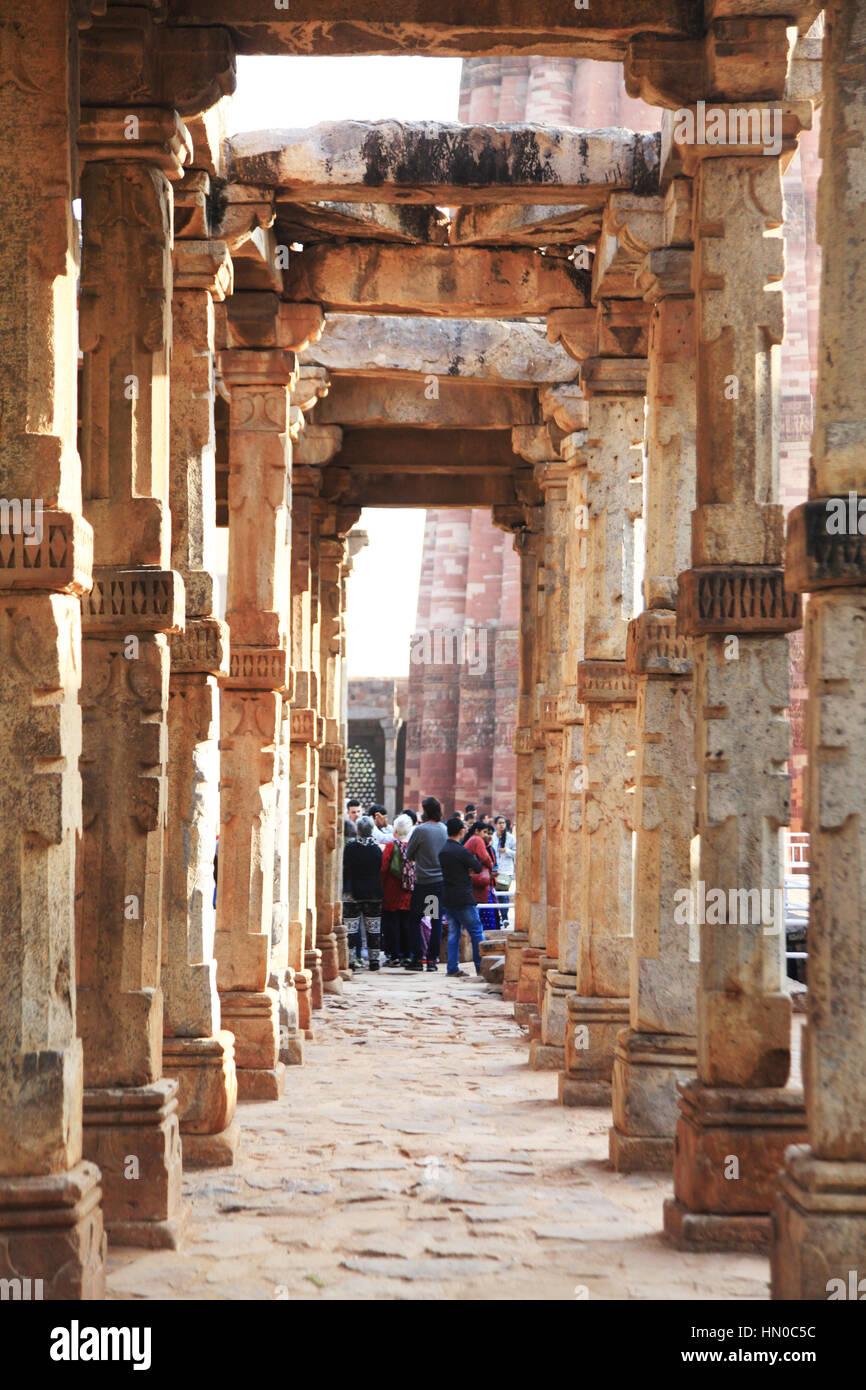 80f4eec8b41d Quran inscription in Qutb Minar complex built in 1311red sandstone tower   Indo  Muslim art   Delhi. F3G674 (RM). Qutub Minar (The Qutub Tower )