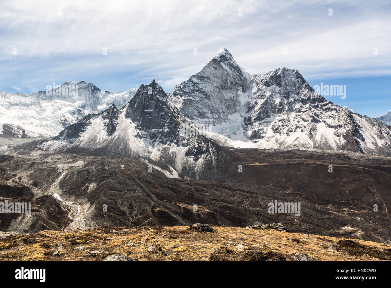 Amphu Gyabjen peak (5630m) view from the Chukung valley near the village of Dingboche on the way to the Everest Stock Photo