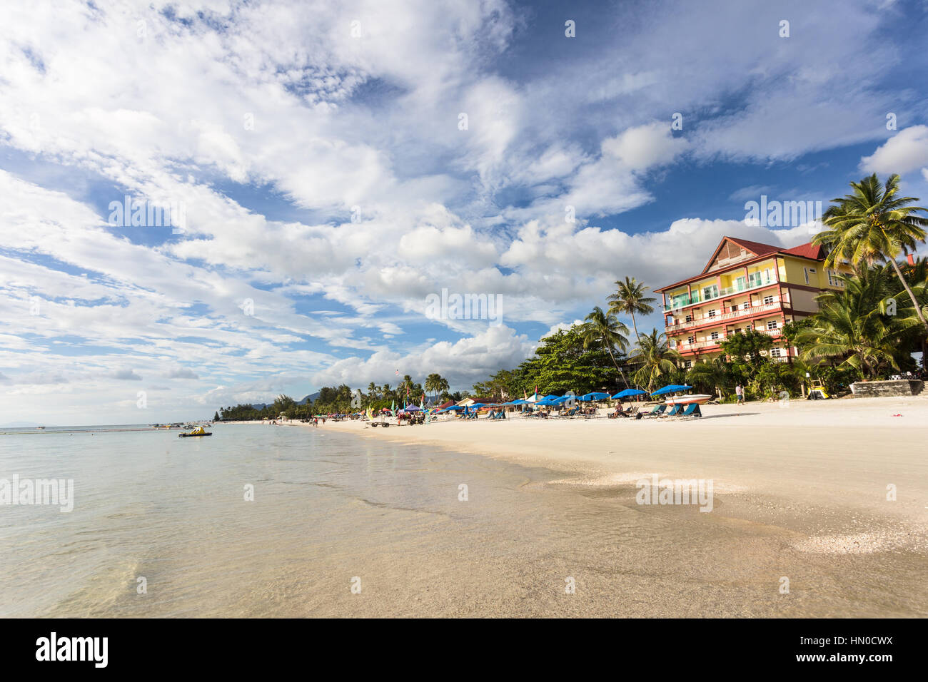 Pantai Cenang is the most popular beach on the Langkawi island along the Andaman sea in Malaysia Kedah state. - Stock Image