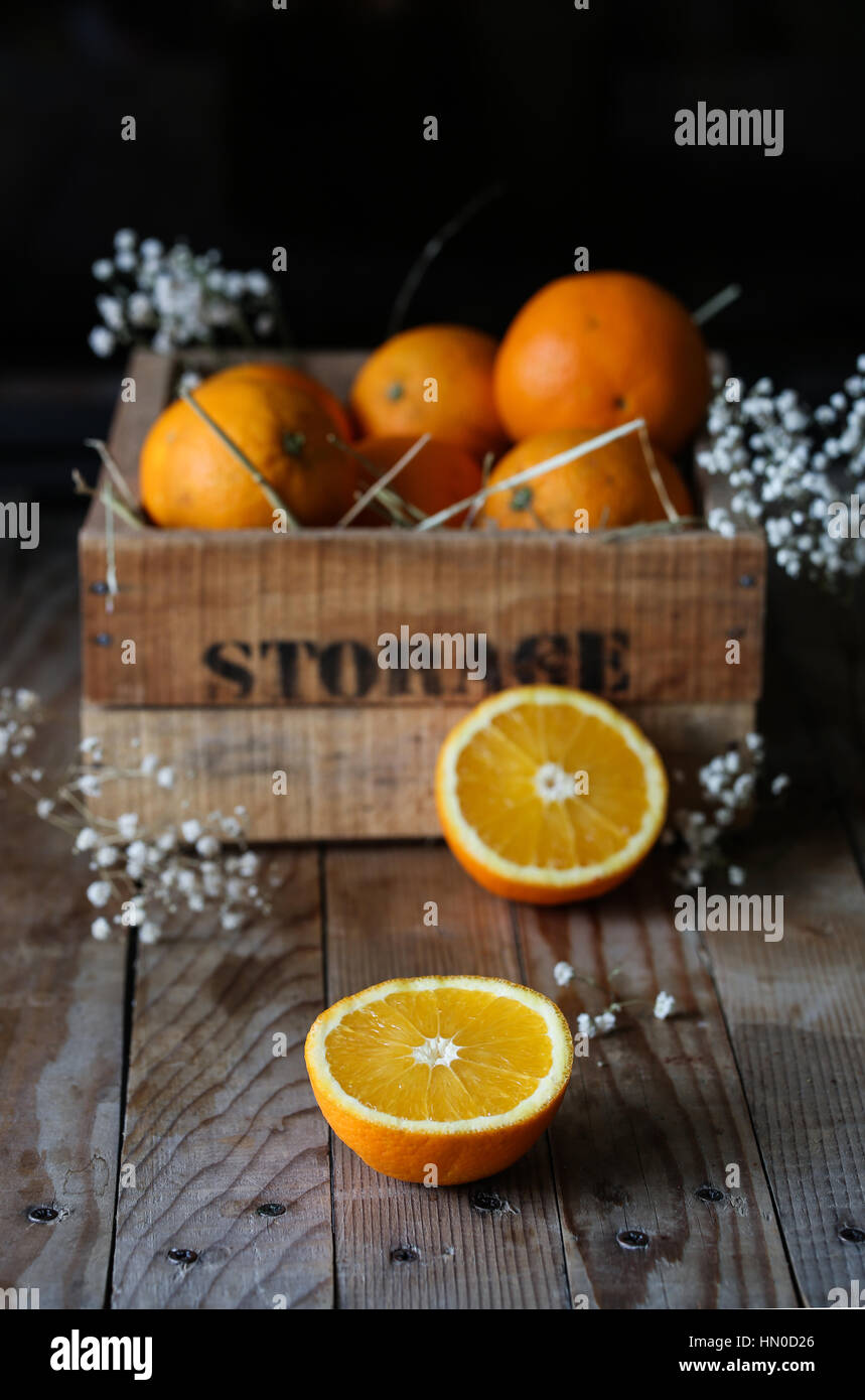 Halfed oranges - Stock Image