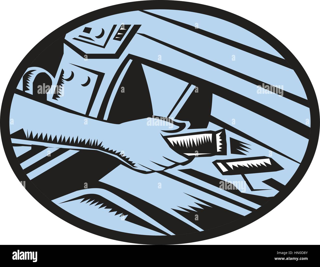 Illustration showing hand reaching in the glove box for an energy bar set inside oval shape done in retro woodcut Stock Vector