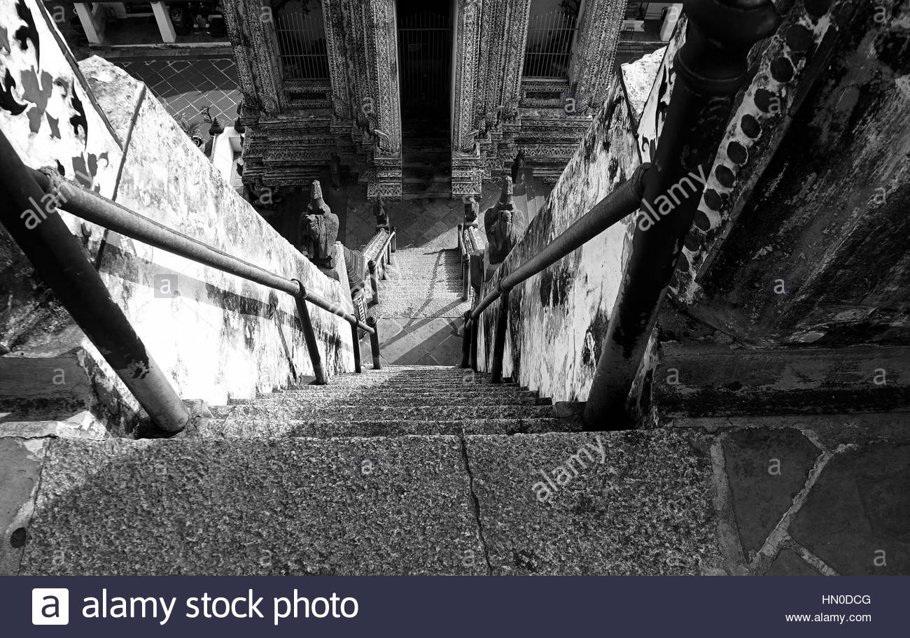 Wat Arum Temple stairs view black white - Stock Image