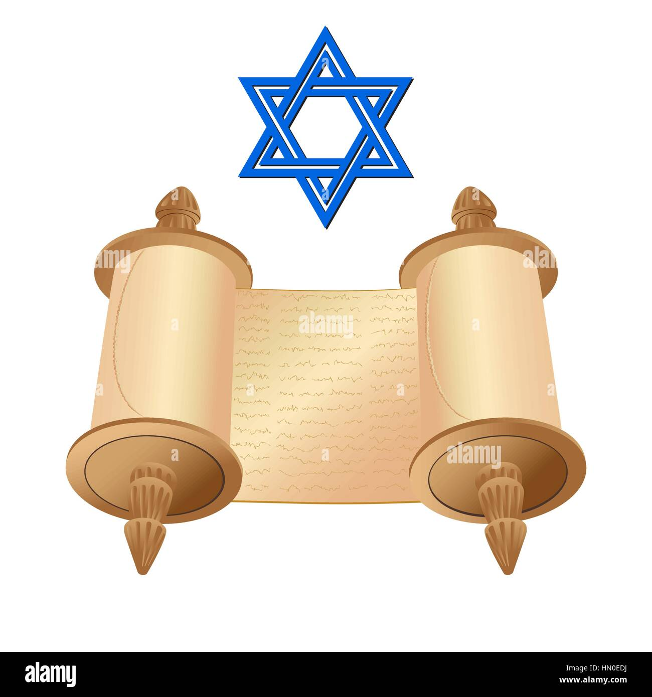 Vector illustration old scroll papyrus and star of David on a white background. Cartoon image of the Torah in the - Stock Image