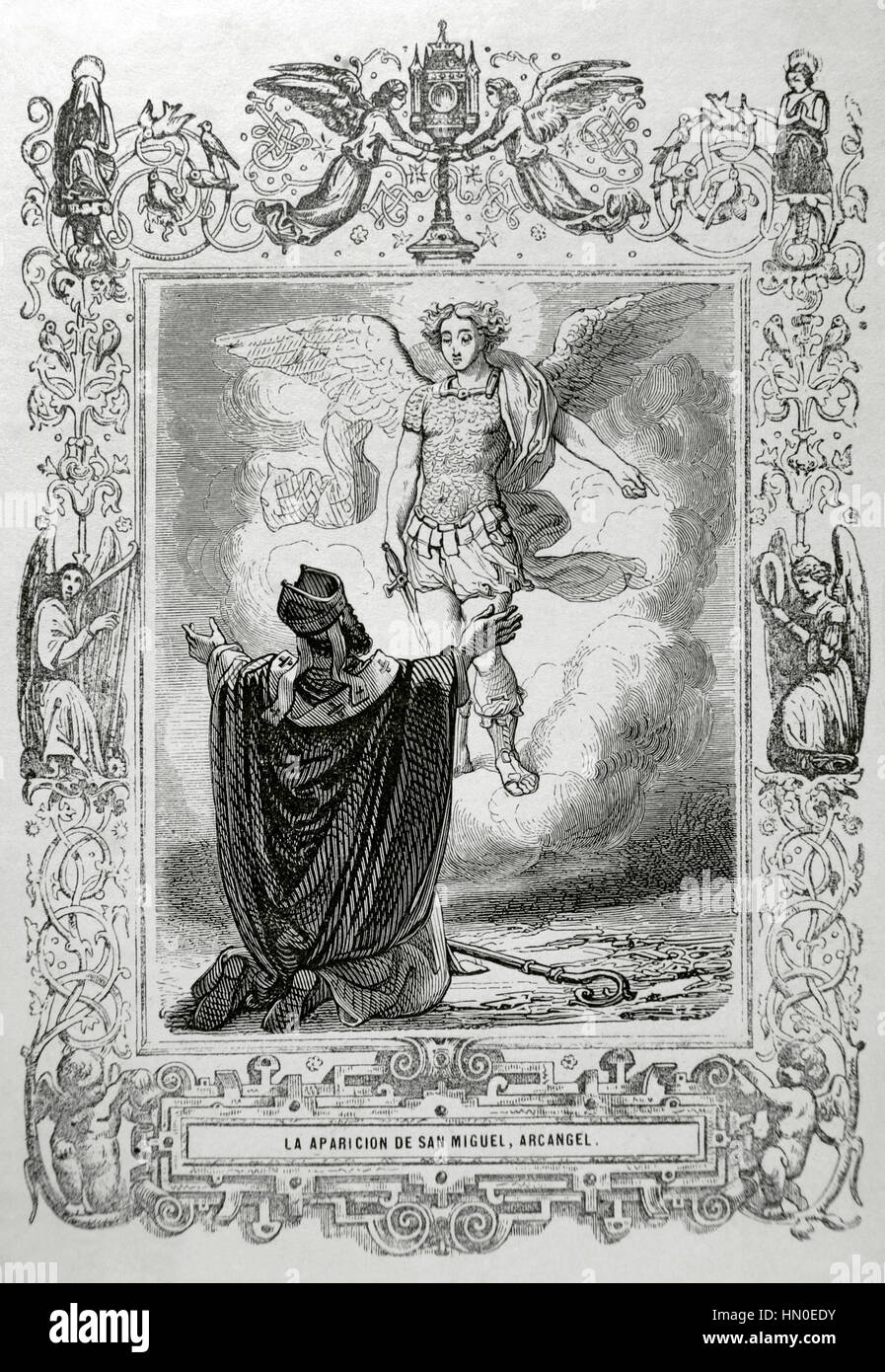 The Apparition of St. Michael the Archangel. Engraving by Capuz, 1852. - Stock Image