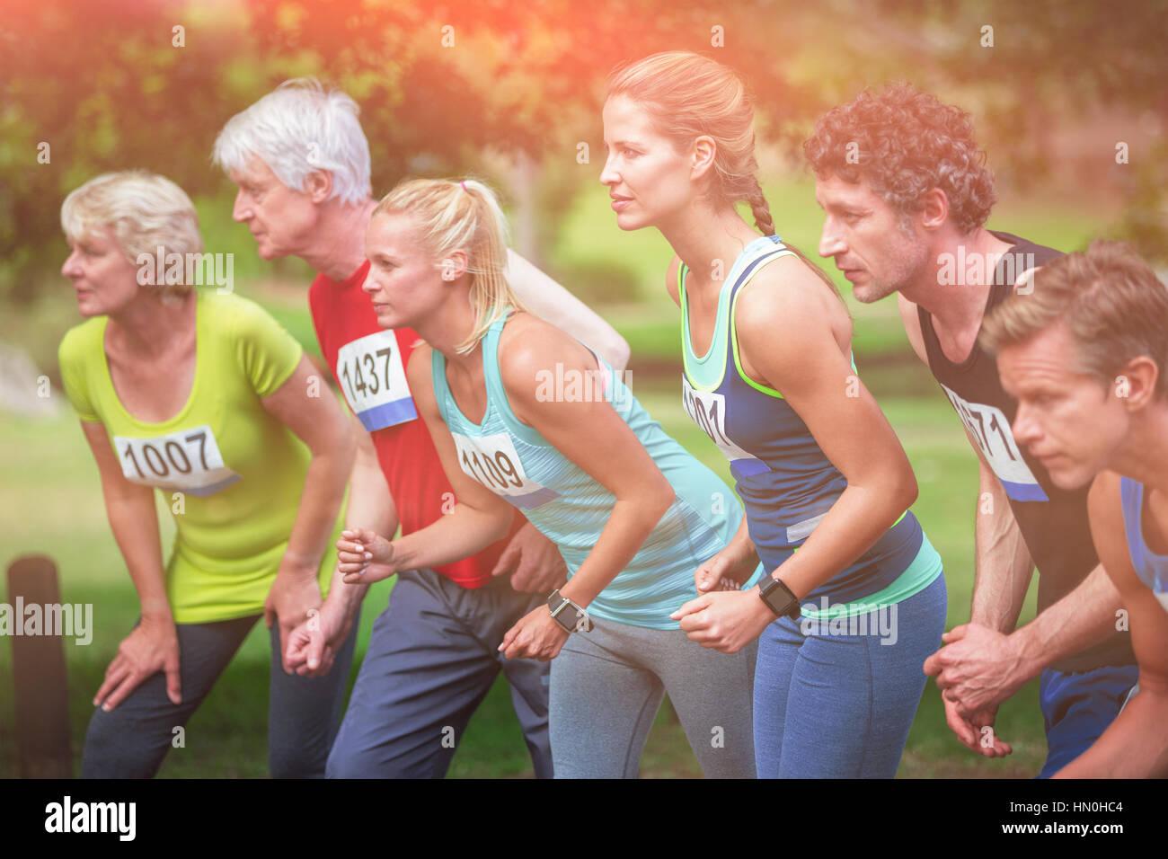 Marathon athletes on the starting line in park - Stock Image