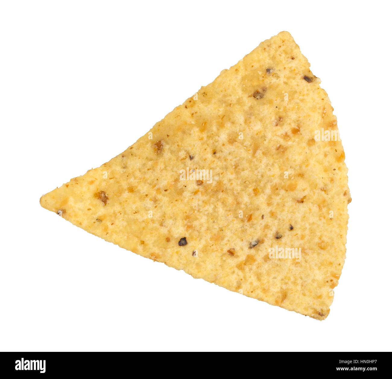 Top view of a tortilla chip isolated on a white background. - Stock Image
