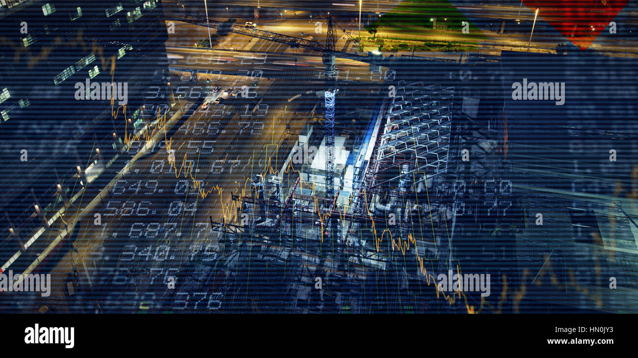 Stocks and shares against commercial dock at night - Stock Image