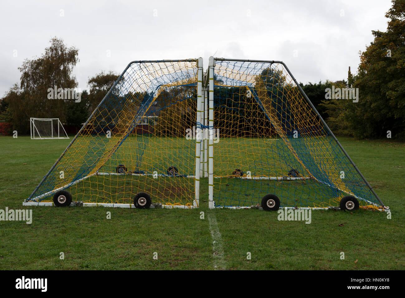 Wheeled football goal posts - Stock Image