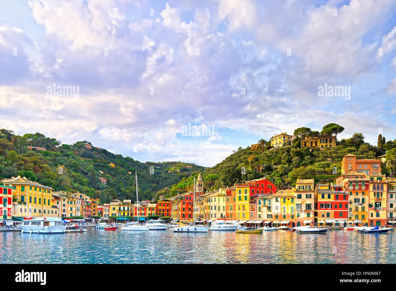 Portofino luxury landmark panorama. Village and yacht in little bay harbor. Liguria, Italy Stock Photo