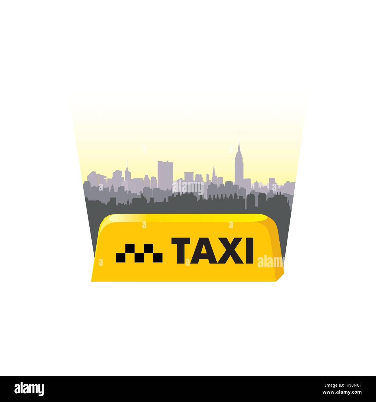 Taxi service header. Taxi sign city background. Call taxi cityscape concept - Stock Vector
