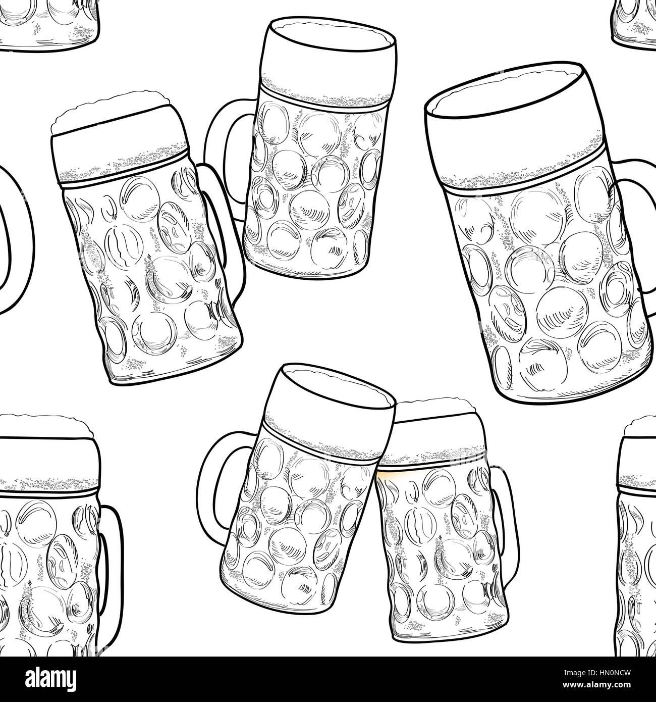 Beer seamless pattern. Ornamental background with beer mug. Beer glass sketch. Octoberfest beer fest pattern - Stock Vector