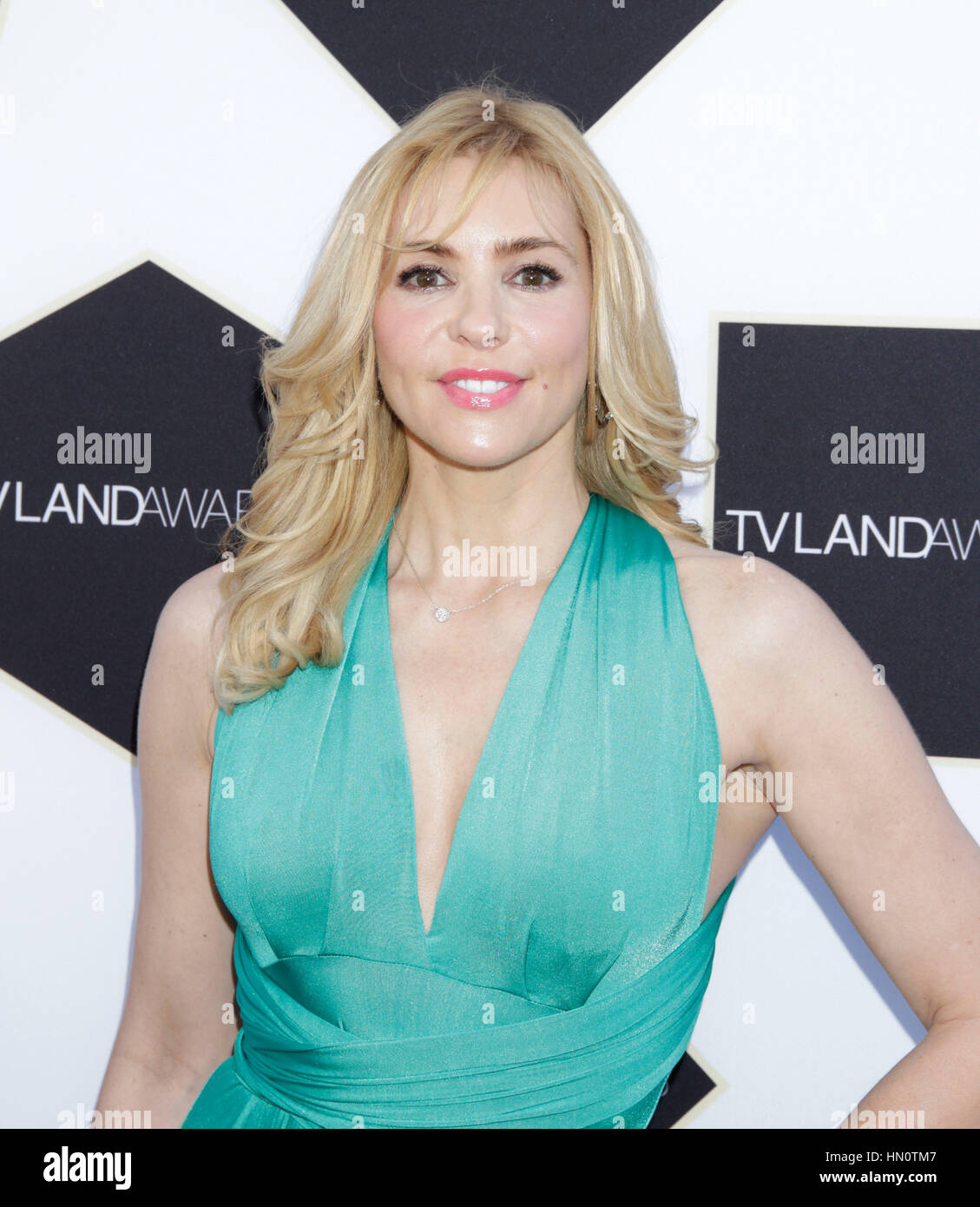 Olivia d'Abo arrives at the TV Land Awards on April 11, 2015 in Beverly Hills, California. Photo by Francis - Stock Image