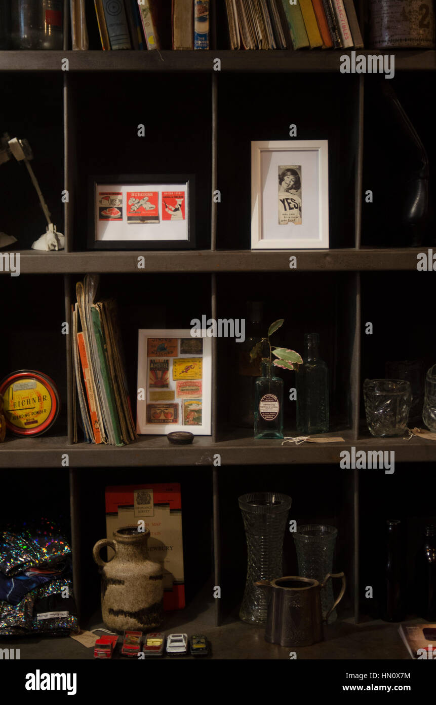 Bits and pieces in a vintage shop in Falmouth, Cornwall - Stock Image