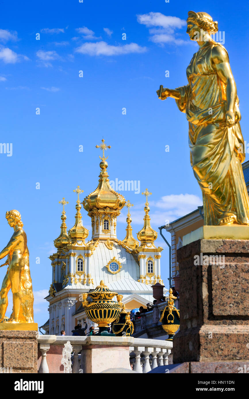 Gold statues and fountains of the grand cascade, Peterhof, St Petersburg, Russia - Stock Image