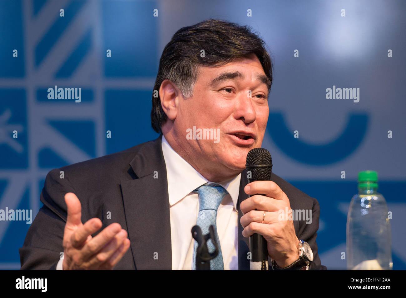 Buenos Aires, Argentina - Nov 5, 2015: Carlos Zannini during the presentation of book El rumbo by Jorge Rivas. - Stock Image