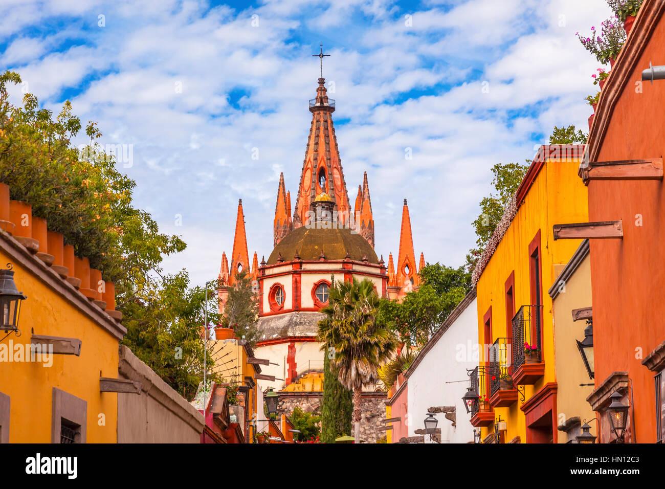 Aldama Street Parroquia Archangel church Dome Steeple San Miguel de Allende, Mexico. Parroaguia created in 1600s. Stock Photo