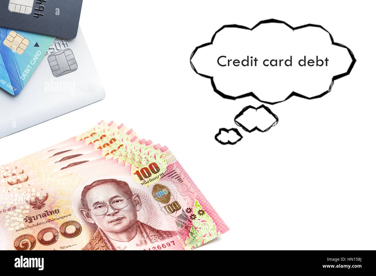 Terms on credit card and debit card Ccredit card debt text - Stock Image