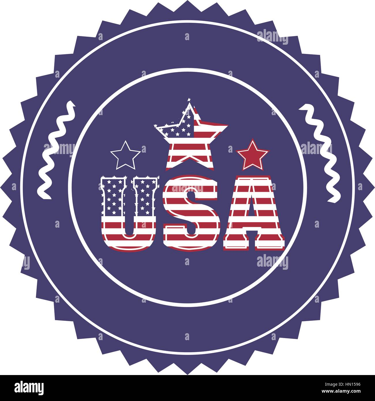 stamp with letters U S A and star in round frame vector illustration - Stock Vector