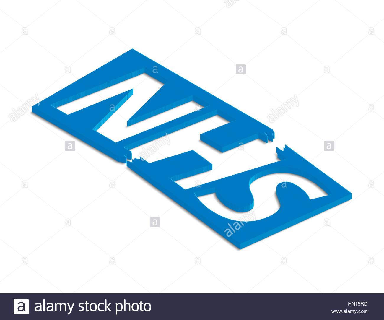 Digital composite - crisis in the NHS, broken 3d NHS logo. - Stock Image