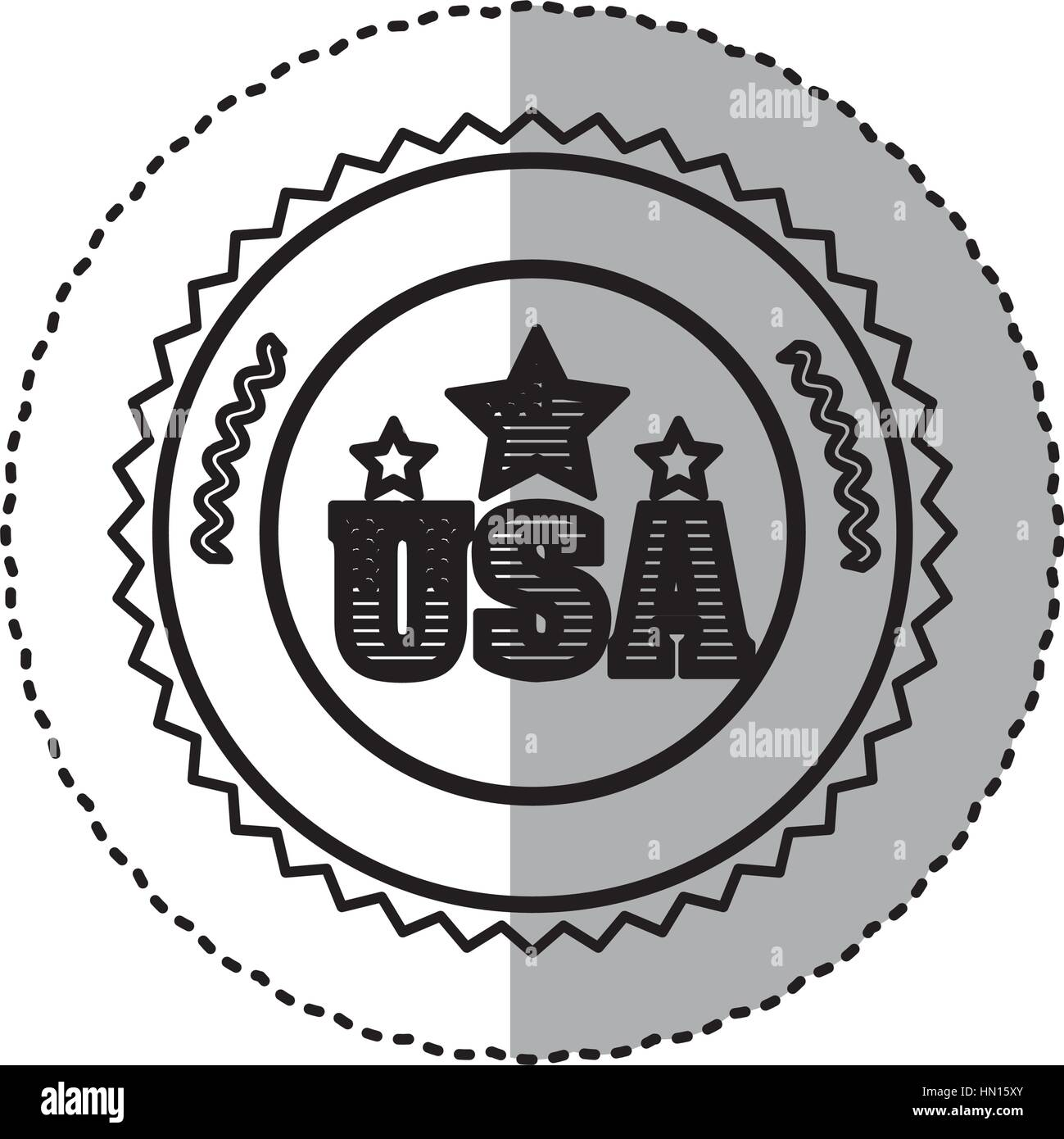 monochrome silhouette sticker with letters U S A and star in round frame - Stock Vector