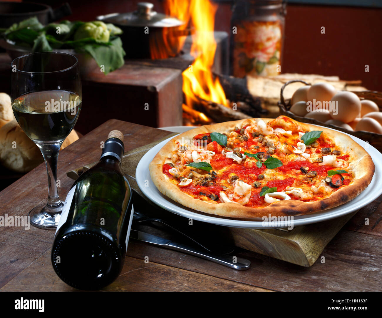 Seafood Pizza With White Wine Stock Photo 133407107 Alamy