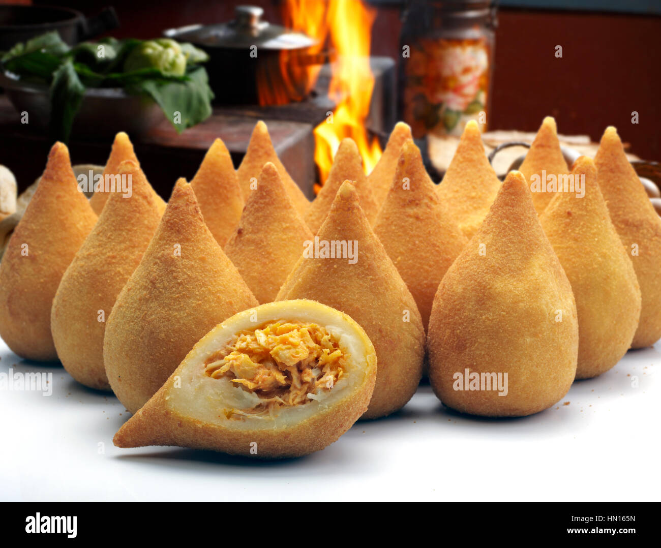 Coxinha de Galinha - Brazilian deep fried chicken snack, popular at local parties. - Stock Image