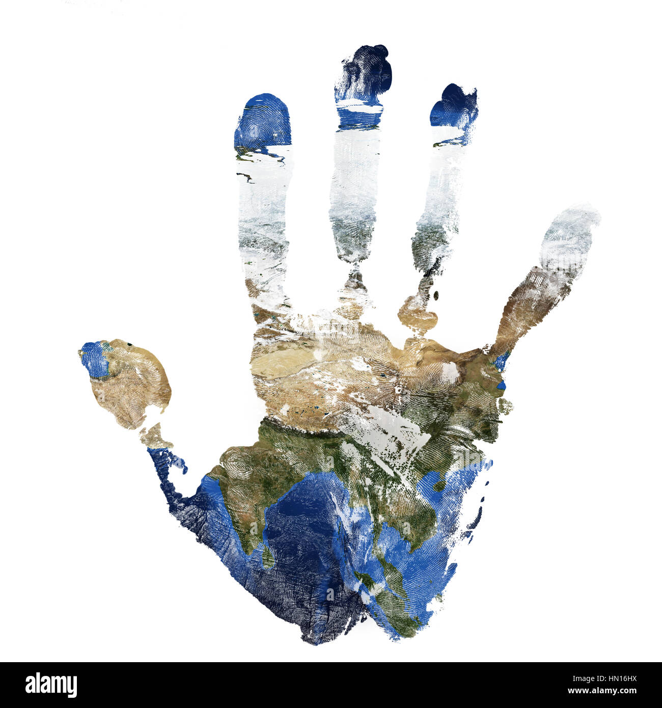 Map Of Asia To Print.Real Hand Print Combined With A Map Of Asia Of Our Blue Planet Earth