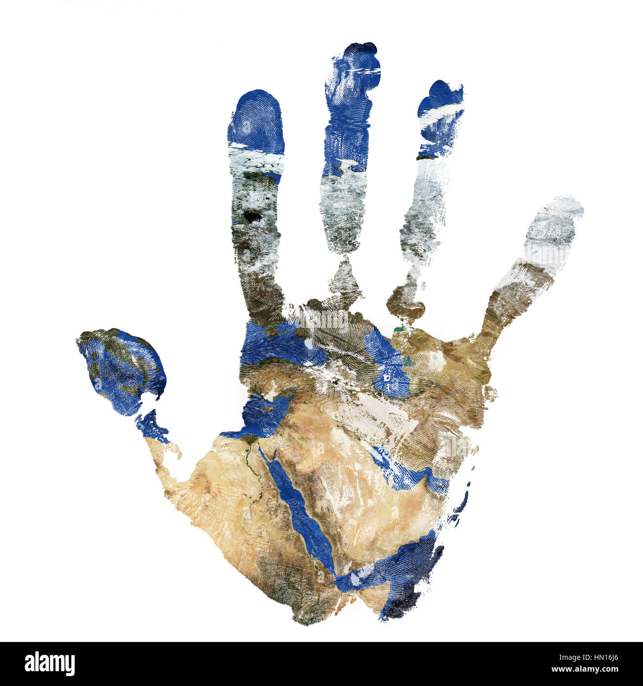 Real hand print combined with a map of The Middle East isolated on white background. Elements of this image furnished - Stock Image
