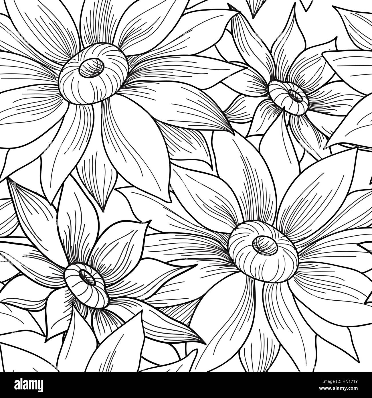 Floral Seamless Pattern Flower Engraving Background Ornamental Monohrome Texture With Flowers Spring Flourish Garden Etching