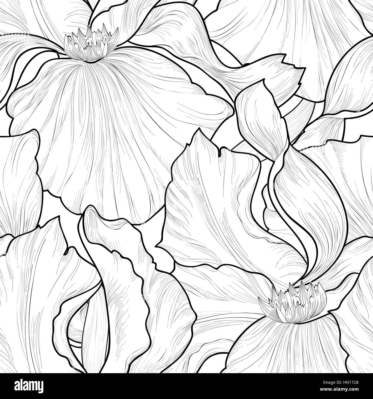 Floral seamless pattern. Flower iris etching background. Abstract floral ornamental texture with flowers. Spring - Stock Image