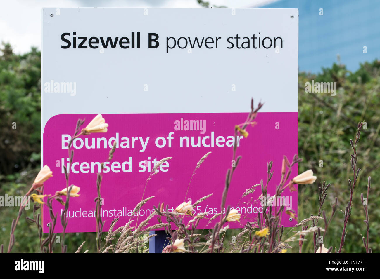 Boundry Sign, Sizewell Nuclear Power Station, England - Stock Image