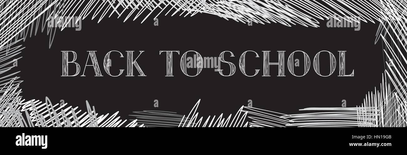 Back to school. Chalkboard horizontal background. Hand drawn message written over blackboard. Vector. - Stock Vector